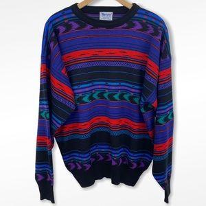 Vintage Meister Multicolor Geometric Print Sweater